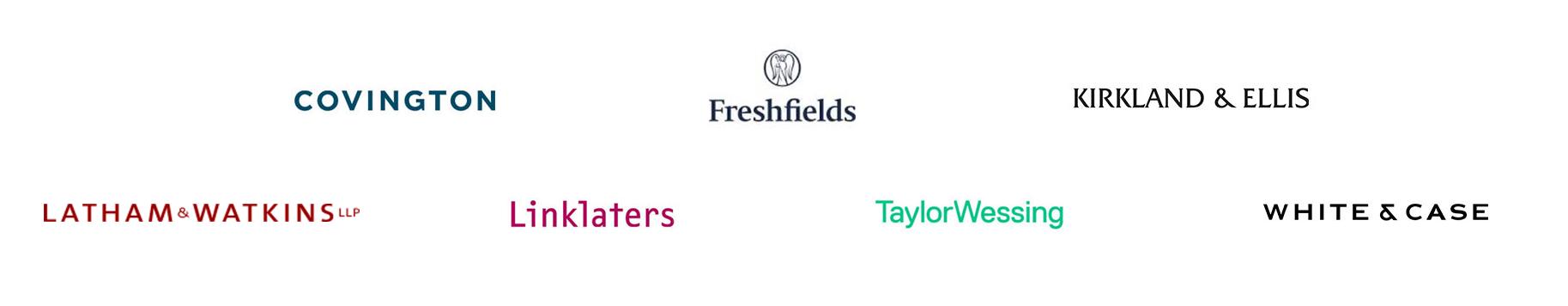 Logos Förderer: Covington, Freshfields, Kirkland & Ellis, Latham & Watkins LLP, Linklaters, Taylor Wessing, White & Case
